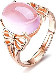Aiuin - Anello regolabile in argento con strass rosa, da donna, alla moda, elegante, regolabile, aperto, con sacchetto per gioielli
