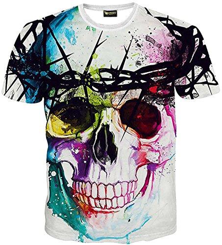 whatlees-mens-t-shirt-scoop-neck-short-sleeves-skull-pattern-3d-printing-cool-fun-slim-stylish-comfo