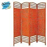 Biombo Separador de Junco Natural, Madera Color Naranja, para Vestidor/Habitacion. Economico. (170cm X 160cm) - Hogar y Más