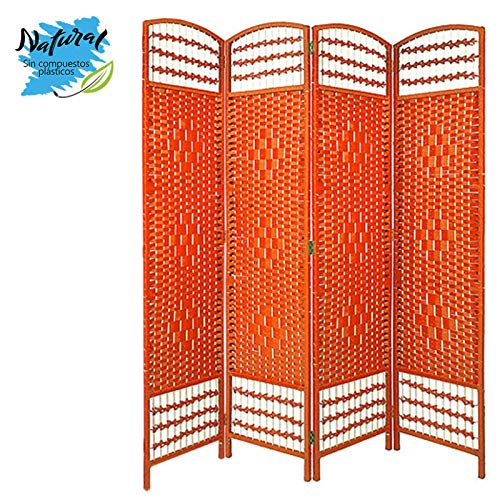 Biombo Separador de Junco Natural, Madera Color Naranja, para Vestidor