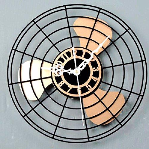 Khskx antiquariato ventilatore elettrico orologio da parete ventola è in stile europeo di orologio da parete orologi vintage e cinese creative orologio da parete,mute golden lame