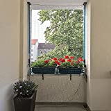 ALLEGRA Katzennetz für Balkon oder Fenster, Katzenschutznetz mit Halterung, Set mit Netz + 2X Teleskopstange ohne Bohren zum Klemmen (1,6m-2,9m + Netz 3x2m)
