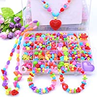PATPAT® Jewelry Making Kit,Girl DIY Bracelet Set,Fun and Colorful Beads,Children's Self-Made Necklace and Hair Band Ring…