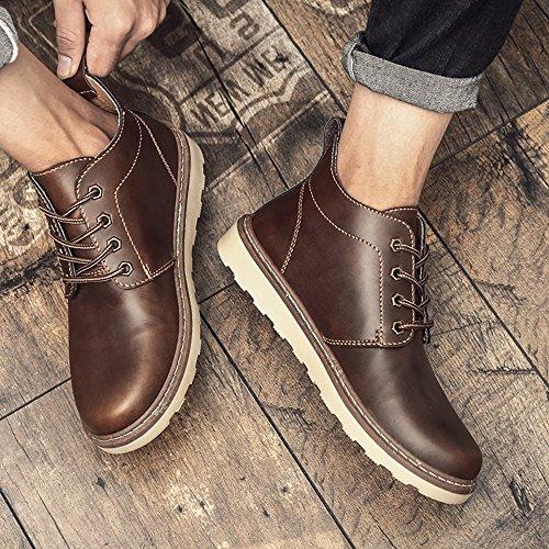 FEIFEI Scarpe da uomo Primavera e Autunno Moda Alta Aiuta Martin Shoes 3 Colors ( Colore : Marrone , dimensioni : EU/41/UK7.5-8/CN42 ) Marrone