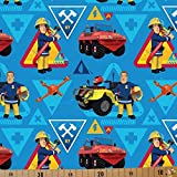 Jersey Stoffe Feuerwehrmann Sam blau 0,50m x VB
