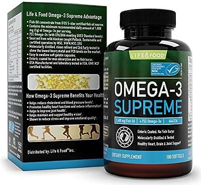 *PRE-ORDER* Omega-3 Supreme Fish Oil 1400 mg +75% Omega-3s (Men & Women) 644 EPA 336 DHA - Burpless, Improved Absorption (180 Softgels) by Life & Food