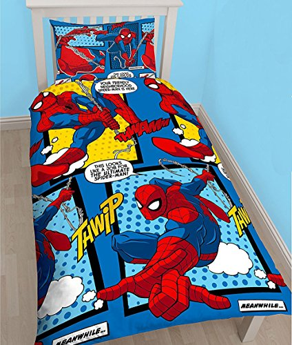 New Spiderman WEBHEAD Single Reversible Designs Duvet Cover & Pillowcase Set