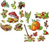 Unbekannt 2 Versch. Bögen: Fensterbilder  Herbst - Früchte & Blätter  - Blätter / Eich..