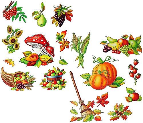 Unbekannt 2 versch. Bögen: Fensterbilder  Herbst - Früchte & Blätter  - Blätter / Eicheln Kastanien - Pilz / Kürbis / Eicheln sammeln - Laubblätter - statisch haftend.. -