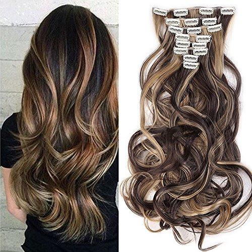 Extension clip per capelli con meche marrone scuro mix biondo chiaro stile mossi lunghi 60cm full head 8 fasce estensioni