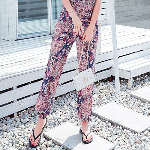 Feminines Seiden-pants (GAOLIM Baumwolle - Seide Pants Sommer Baumwolle Gedruckt Hosen Hosen Dünne Strand Hose, L, Lila Einzelne Hosen Nicht-Positionierung Blume)