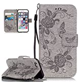 Roreikes Apple iphone 6 Hülle, iphone 6S Case (4.7 Zoll), Muster PU Leder Handyhülle Flip Wallet Cover Blume Schmetterling Pattern Hülle Bookstyle Tasche mit Strap Portable Carrying Schutz Cases Etui Lederhülle Handytasche mit Magnetic Closure Stand ID Card Slots Pouch Soft Silikon für Apple iphone 6 / iphone 6S (4.7 Zoll) (Grau)