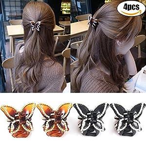 Frauen Kieferklammern, Zoylink 4Pcs Haarschellen Rhinestone Schmetterlings Form Nicht Beleg Greifer Klipp Haar ZusäTze