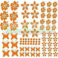 """Stickers Hibiscus """"Fiori e farfalle Set 75 pezzi"""" adesivo NB-0169-IT arancione"""