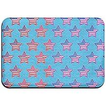 Arco iris de estrellas con bandera antideslizante alfombra Felpudo entrada para interiores/puerta delantera/cuarto de baño/cocina
