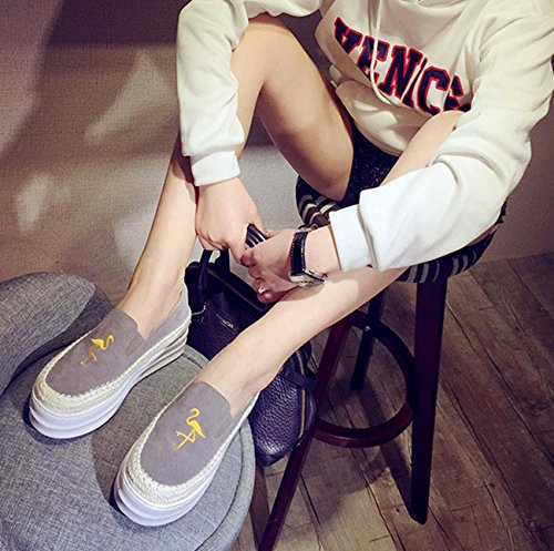 Cuir 3colors Swan Flat Penny Loafer Round Head À la main Grande taille Ascenseur Casual Shoes Grey