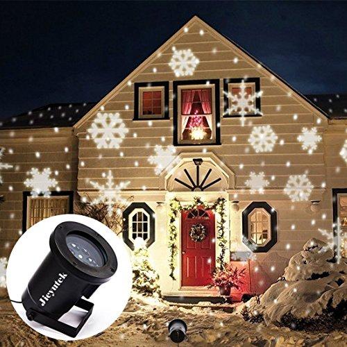 Lampen, Jieyutek OPL1106 Innen/Outdoor Wasserdicht IP65 LED Landschaft Projektor Lampe Xmas Weihnachten Christmas Urlaub Garten Dekoration Lampen Weiße Schneeflocken (Scheinwerfer-halloween-dekoration)