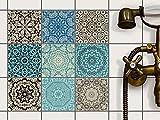 Fliesen Deko Fliesenaufkleber für Küche u. Bad | Fliesenfolie Fliesensticker Klebefliesen Mosaikfliesen Dekorfolie | 10x10 cm - Motiv Marokkanisch - 9 Stück