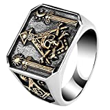 ForFox Anillo de Illuminati Masónico Titanio pilares & Calavera & Tibias Cruzadas Oro Rosa para Hombres Talla 14
