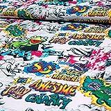 Baumwolljersey bunt Frosch Graffiti Modestoffe Kinderstoffe