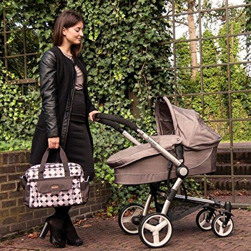 Wickeltasche AMALFI (+ Wickelauflage) Baby Tasche mit Befestigung für Kinderwagen Buggy (Rosa) Rosa
