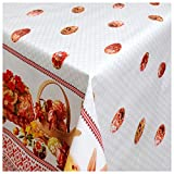 Wachstuch Tischdecke Gartentischdecke mit Fleecerücken Gartentischdecke, Pflegeleicht Schmutzabweisend Abwaschbar Ostern Osterkorb Bordüre Weiss Rot 200x 140 cm - Größe wählbar