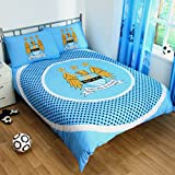 Manchester City FC Official Bullseye Reversible Duvet Cover Bedding Set (Single and Double) (Double) (Sky Blue)
