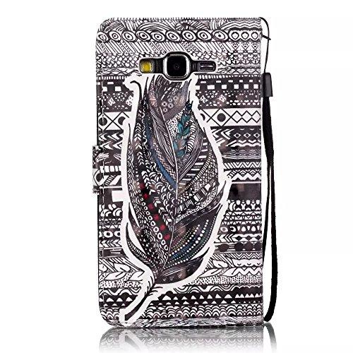 Vandot Coque Samsung Galaxy Grand Prime G530 Etui Samsung Galaxy Grand Prime G530 Case Samsung Galaxy Grand Prime G530 Housse iPhone SE PU Cuir Coque Samsung Galaxy Grand Prime G530 Flip Etui Motif Pa N-Feather