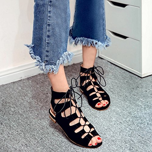 COOLCEPT Femmes Mode Lacets Sandales Creux Slingback Confortable Talon bas Gladiateur Chaussures Noir