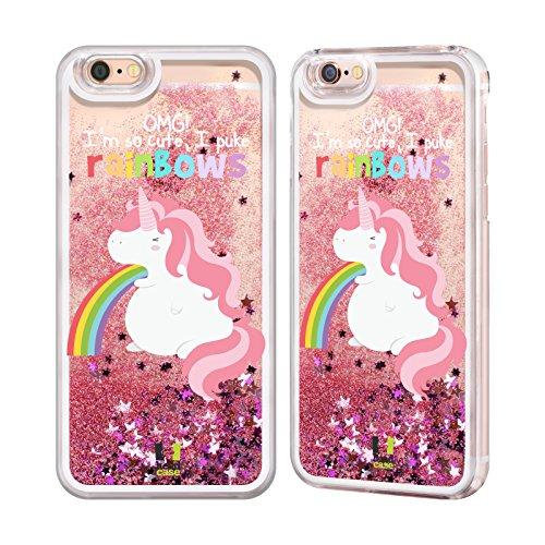 iPhone 6 / 6s Einhorn Regenbogenkotze Rosa Handyhülle mit flussigem Glitter für Apple