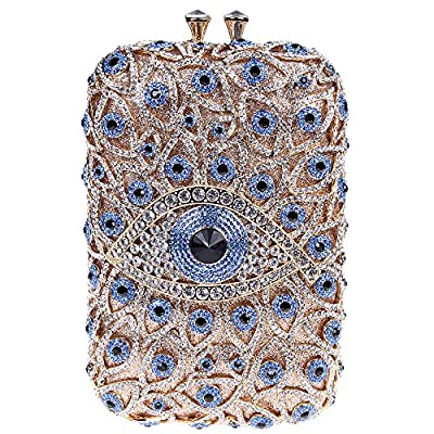 Bonjanvye Novelty Eye Shape Glitter Studded Purses with Crystal Rhinestone Handbags For Girls
