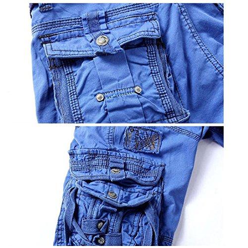 LIANIHK Herren Jungen Hose Sommer Bermuda Capri Kurze hose Männer Cargo Shorts Blau 1