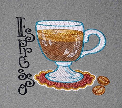 Platzset Espresso 2erTischset 33 x 44 cm bestickt auf grauem Wollfilz -