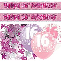 Pink Silver Girl Glitz 16th Birthday Banner Party Decoration Pack Kit Set
