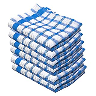 Xelay 100% Cotton Terry Tea Towel Egyptian, Wonderdry Soft Monocheck Black/White Jumbo Thick Kitchen Dish Cleaning Drying Cloth Pack of 3, 4, 5, 6, 10, 15 – 35cm x 60cm (Blue Pack of 6, 14