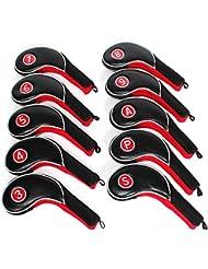 Craftsman Juego de Juego de fundas de cabeza para putter de hierro de golf de palo de golf, color negro y rojo Fit todas las marcas Titleist, Ping, Callaway, TaylorMade, Cobra, Nike, etc.