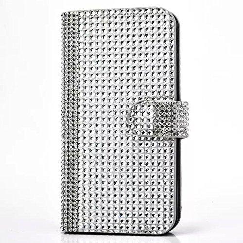 """iPhone 7 Lederhülle, 3D Bling Glitzer Strass CLTPY iPhone 7 Flip Stand Bookstyle Wallet Handytasche mit [Ständer Standfunktion] & [Magnetverschluss] für 4.7"""" Apple iPhone 7 + 1 x Stylus - Rosa A Silber C"""