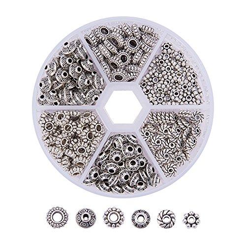 PandaHall Elite 300 Stück Tibetische Mixed Metallperlen Spacer Perlen Bleifrei für Basteln DIY Schmuck Antikes Silber (Schmuck Antik)
