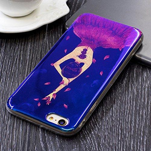 per iPhone 6 Plus/ 6S Plus Custodia case,Herzzer Mode Crystal Creativo Elegante lusso di Blu Glitter Bling stampato Quadro Dipinto Design shell,Ultra slim sottile morbido TPU Silicone Gel flessibile P danza ragazza