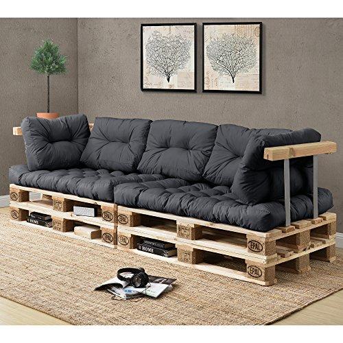 [en.casa] 1x Sitzkissen für Euro-Paletten-Sofa [dunkelgrau] Palettenkissen Auflage In/Outdoor Polster Möbel - 5