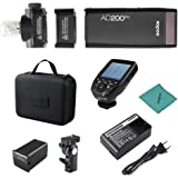 Godox AD200Pro Pocket Flash Portátil inalámbrico TTL Flash con Cabeza de Flash Intercambiable GN52 GN60 1 / 8000s HSS 200W co