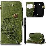 BtDuck Hülle Nokia Lumia 630 N630 Retro Blume Frauen, Slim Tasche Vintage Brieftasche Handyhülle Ledertasche Flip Cover SchutzHülle Nokia Lumia 630 N630 CoverSilikon Back Brieftasche Grün