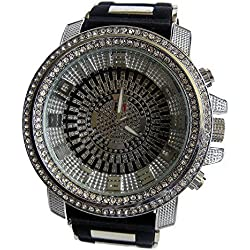 Micropave Black & Silver Plated Rubber Strap HipHop Bling Watch