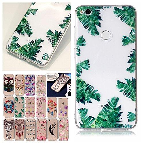 V-Ted Huawei P8 Lite 2017 Hülle Transparent mit Muster Tropisch Blätter Ultra Dünn Durchsichtig Silikon Gummi Bumper Etui Schutzhülle Tasche Handyhülle (Gummi-blatt Dünne)