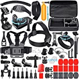 Leknes Lot de 52 Accessoires Professionnels Sports Aquatiques Extrêmes Mécaniques Accessory Set for GoPro Hero 5 4 3+ 3 2 1 Noir Argent SJ4000 SJ5000 SJ6000, et Lightdow/Xiaomi Yi/WiMiUS/DBPOWER/Campark d'action Caméra