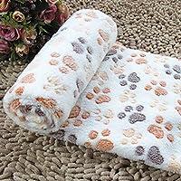 Topker Doux tiède couverture de polaire pour animaux de compagnie mat pad housse coussin pour chien chat chiot animal Beige Empreinte & S