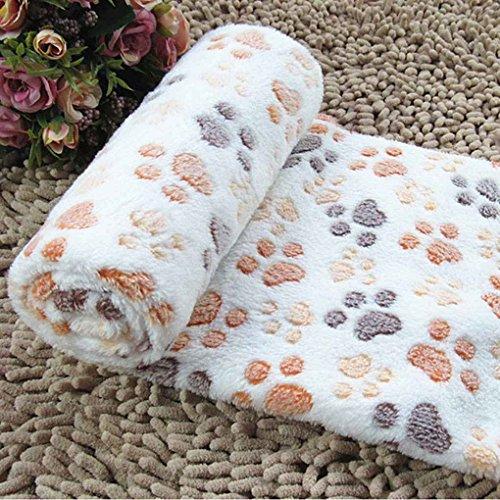 LUFA Weiche warme pet fleece decke bettmatte pad abdeckung kissen für hund katze welpen tier Beige Fußabdruck & S