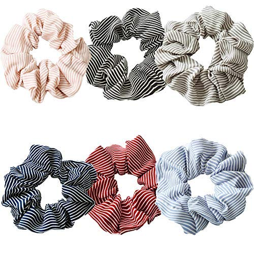 Haargummis, 6 Stück, elastisch, gestreift, für Mädchen und Damen, Haarschleife, Chiffon, Pferdeschwanz-Halter, bunte Haargummis, weiche Haarbänder (A) (Stoff-haargummi)