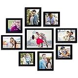 "AG Crafts™ Wall Wood Photo Frames (Black, 9 Photos) 1/2"" (Black)"