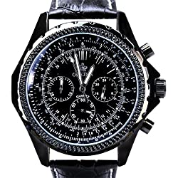 Orkina Black Case Chronograph Dial Quartz Leather Band Wrist Watch PO004LB